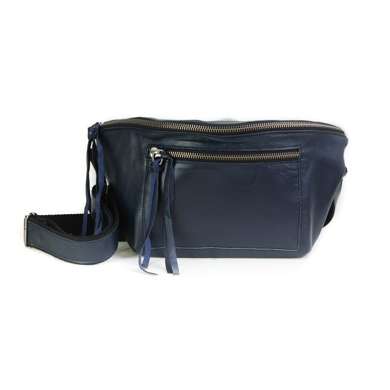 Mantra, blue leather belt bag, by 3rd Floor Handmade Leather Bags