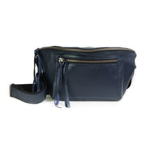 Load image into Gallery viewer, Mantra, blue leather belt bag, by 3rd Floor Handmade Leather Bags