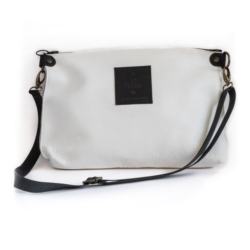 3rdfloor handmade leather bags City clutch white