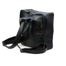 Load image into Gallery viewer, Photo of the back side of a black backpack. Go Safe Backpack by 3rd Floor Lab