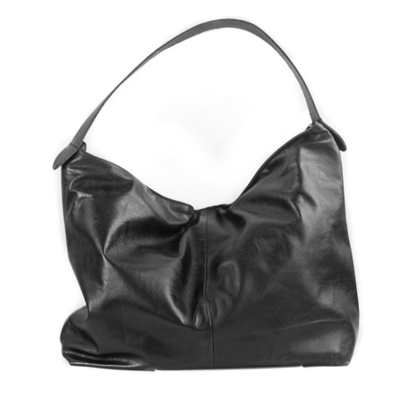 Black shoulder bag, with wide shoulder strap. By 3rd Floor Handmade Bags