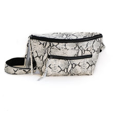 Load image into Gallery viewer, Mantra - Black and white, leather, handmade fanny pack by 3rd Floor