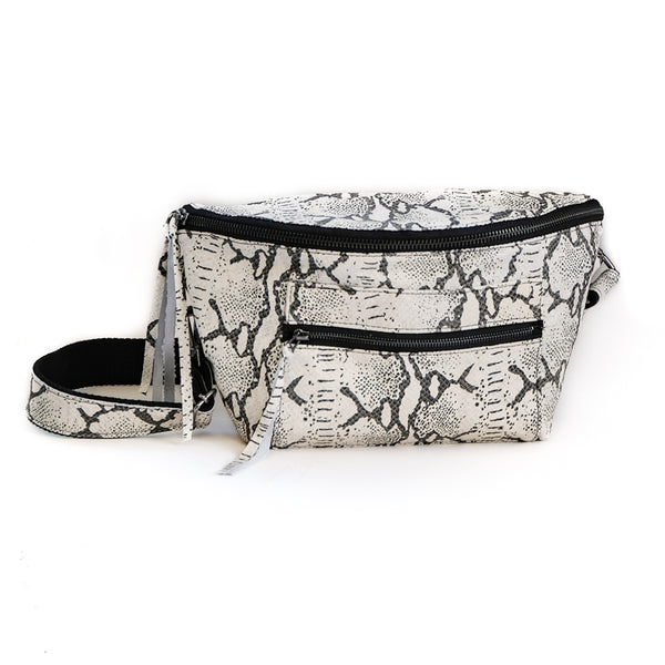 Mantra - Black and white, leather, handmade fanny pack by 3rd Floor
