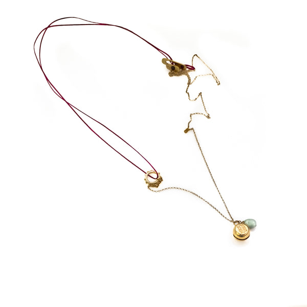Turtle Luck. Handmade, red cord, and chain necklace, by 3rd Floor Handmade Jewellery