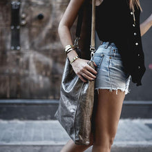 Load image into Gallery viewer, close up girl with every day, leather bag