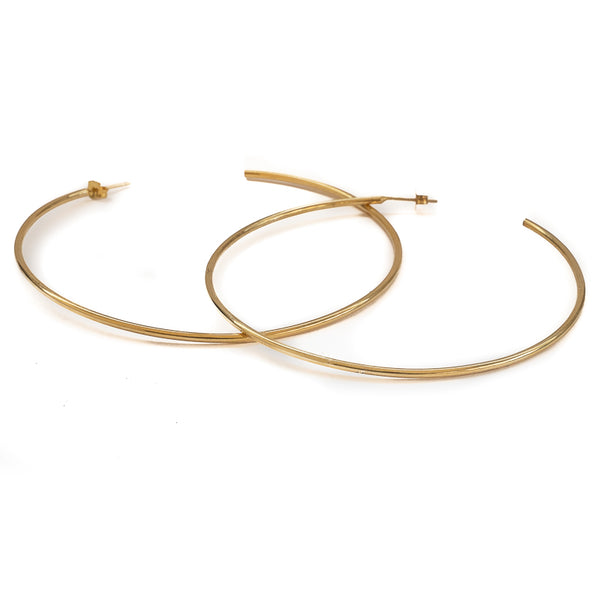 Hollow Large Earrings-Gold
