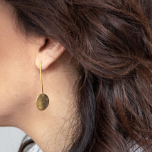Load image into Gallery viewer, woman with 3rdfloor luna handmade earrings gold