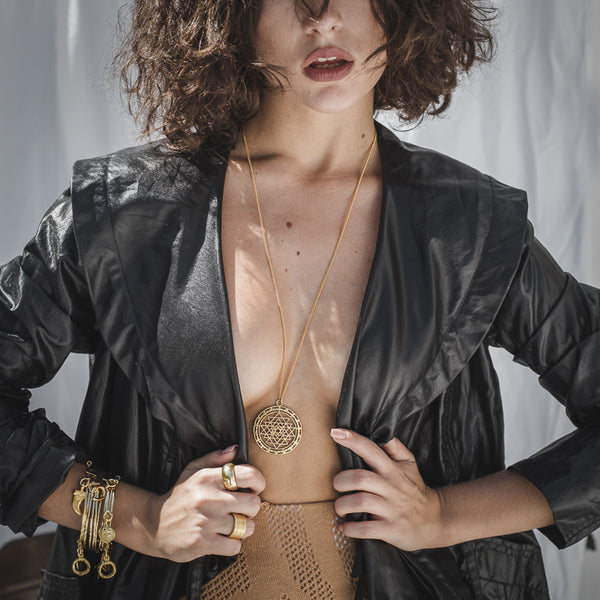 model with Ezra. Handmade, gold plated brass, necklace by 3rd Floor