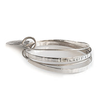 Load image into Gallery viewer, Journey silver handmade bracelet stamped with the longitude and latitude coordinates of your choice-3rd Floor Coordinates Line
