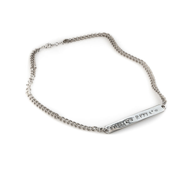 Ithaca silver handmade bracelet stamped with your choice of earth's coordinates 3rd Floor Handmade Jewellery
