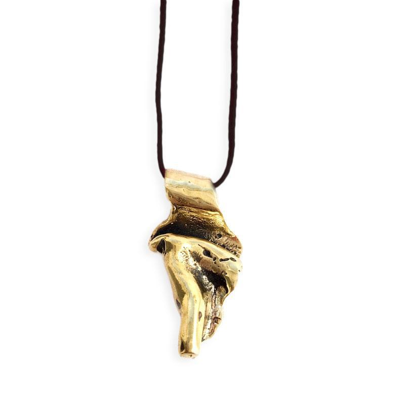 Scroll Small - Handmade, gold, necklace with black cord. By 3rd Floor Jewellery