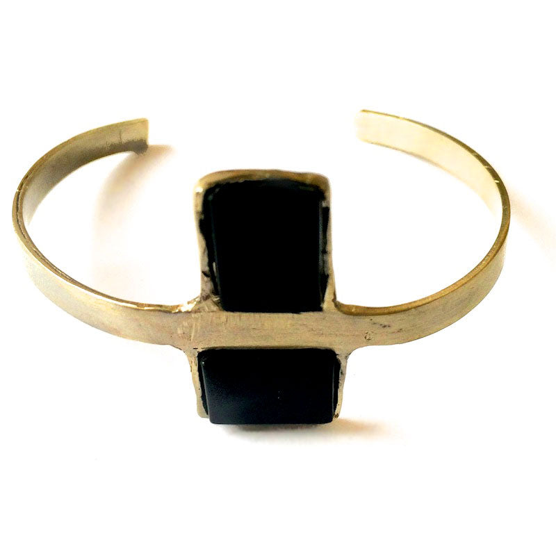 Antidote. Handmade, gold plated brass, black onyx bracelet by 3rd floor handmade jewellery