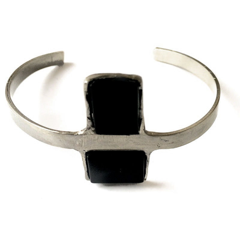 Antidote. Handmade, silver plated brass, black onyx bracelet by 3rd floor handmade jewellery