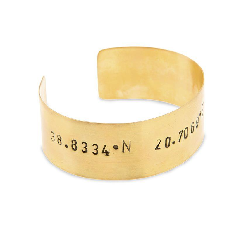Gold plated adjustable bracelet stamped with earth's coordinates by 3rd floor handmade jewellery