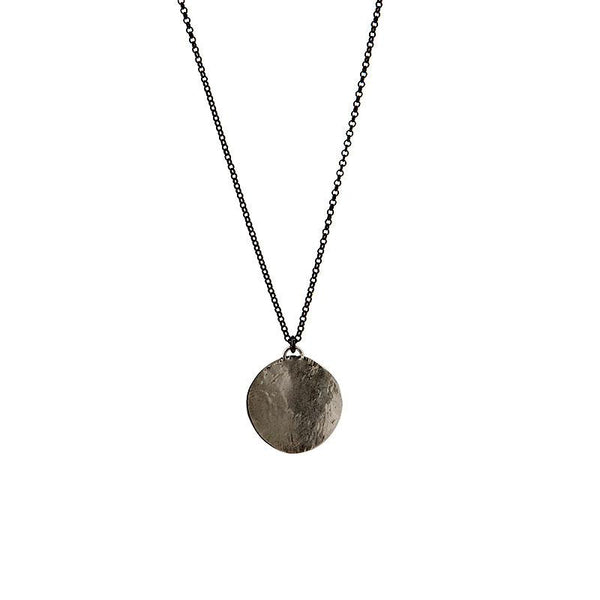 Amelia Small. Ruthenium plated (black), thin chain necklace, with a black, round pendant. By 3rd Floor Handmade Jewellery