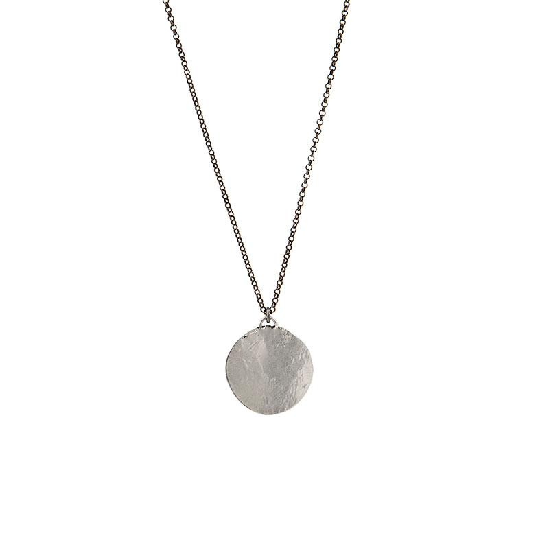 Amelia Small. Silver chain, round pendant necklace by 3rd Floor Handmade Jewellery