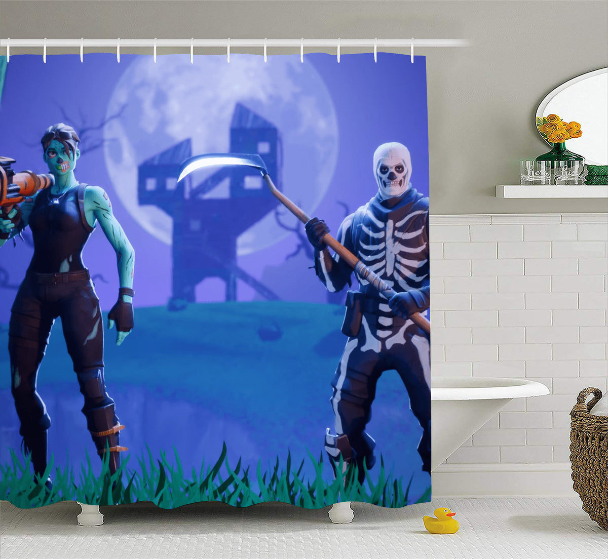 Skull Trooper Shower Curtain Extra Long Bath Decorations