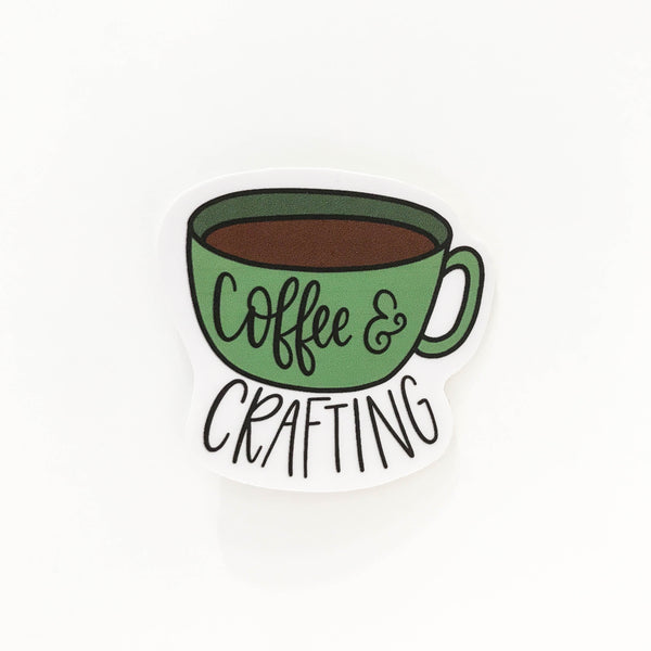 Coffee and Crafting Vinyl Sticker