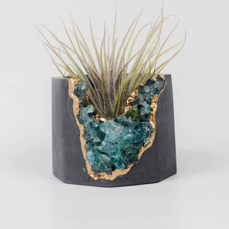 Dark Blue Apatite Geode Vessel