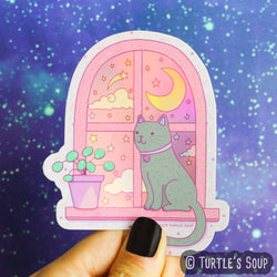 Magical Cat Moonlight Vinyl Sticker (Holographic)