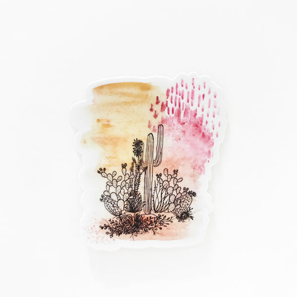 Modern Watercolor Cactus Vinyl Sticker