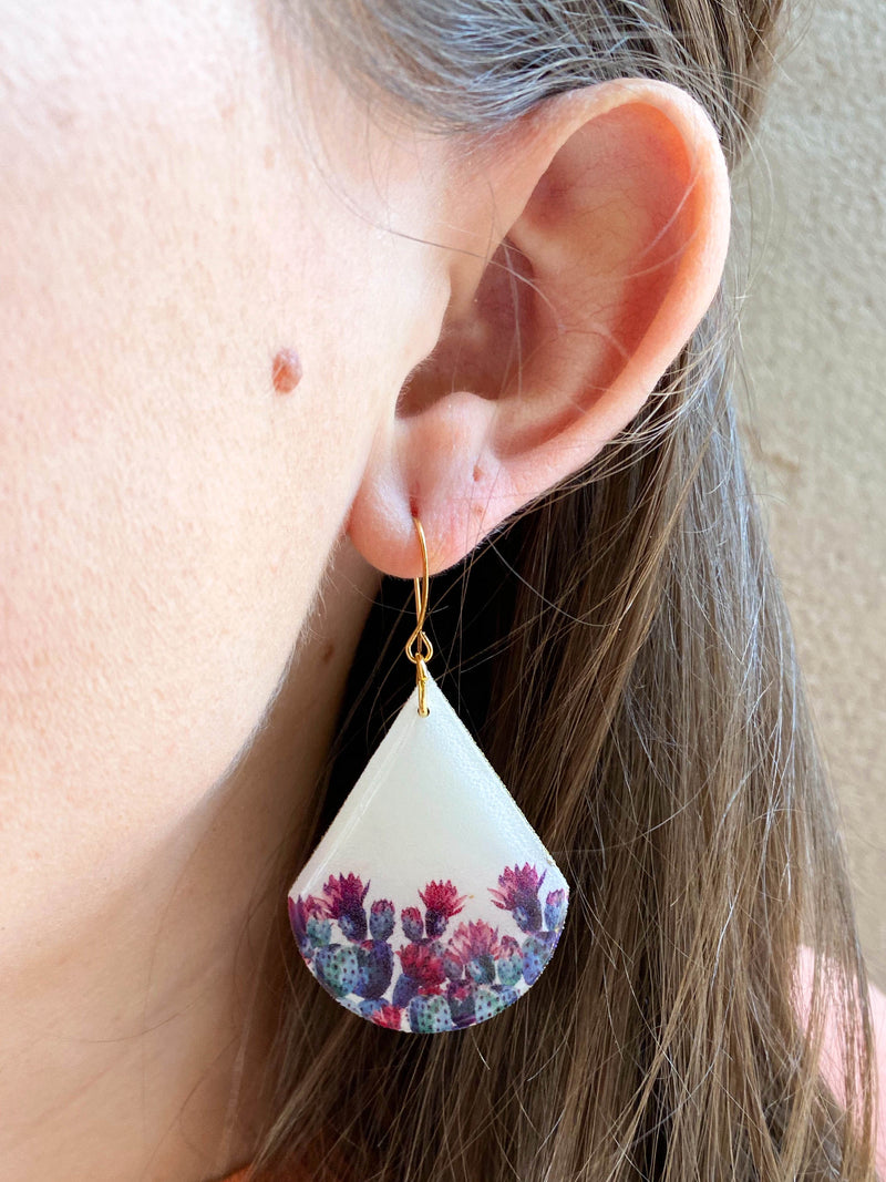 White Prickly Pear Tear Drop Resin Earrings
