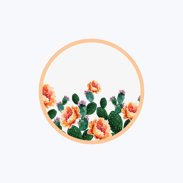 Peach Prickly Round Vinyl Sticker