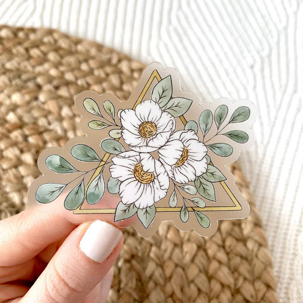 Clear Gold Triangle Floral Sticker 3x3in.