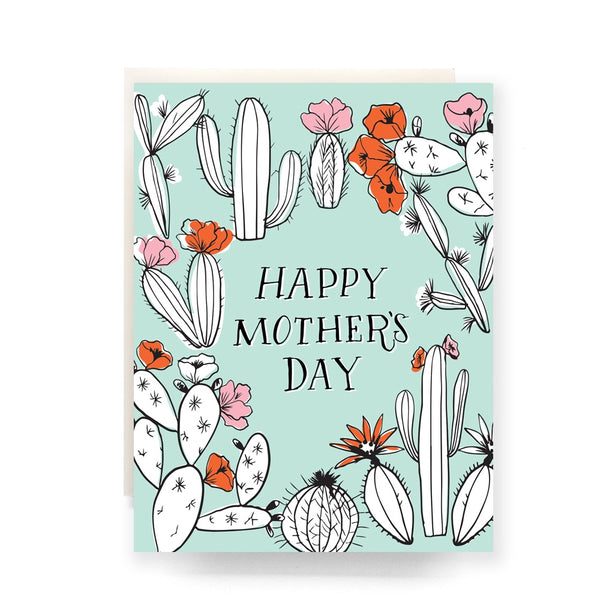 Cactus Toile Mother's Day Greeting Card