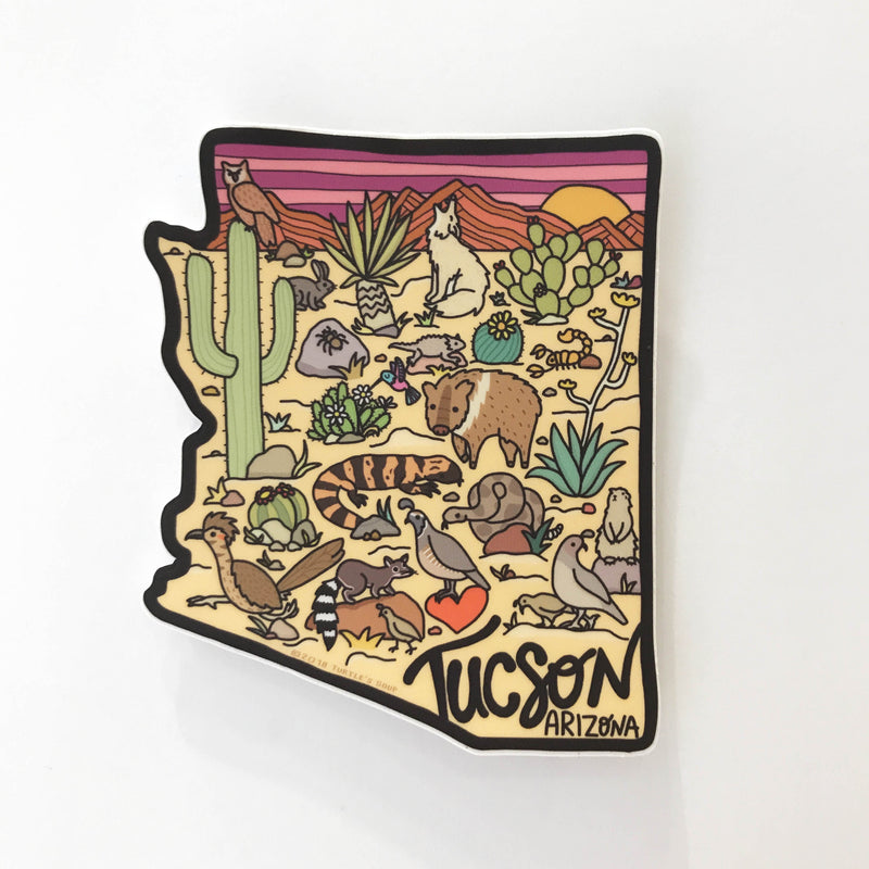 Arizona State Illustrated Map Vinyl Sticker