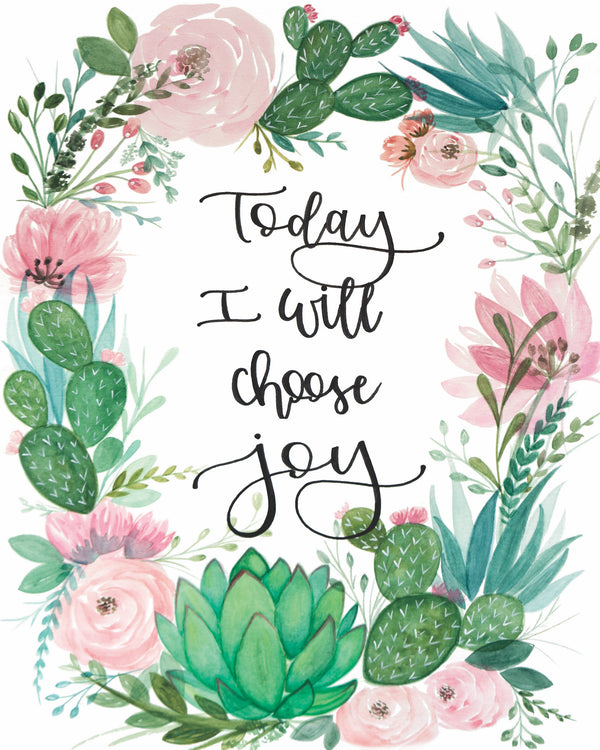 Choose Joy Succulent Art Print