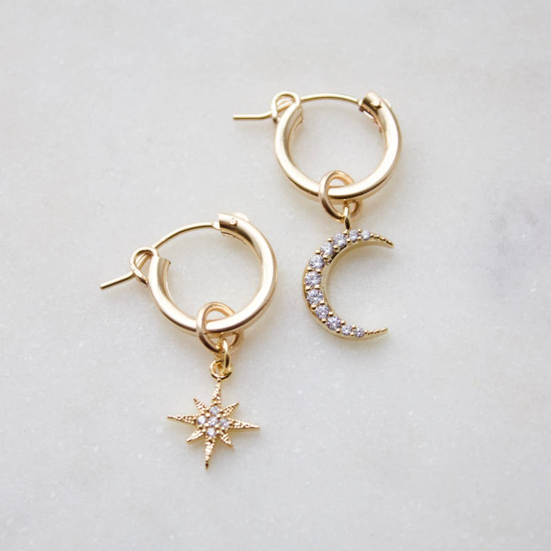 Celestial Gold Filled Huggie Earrings