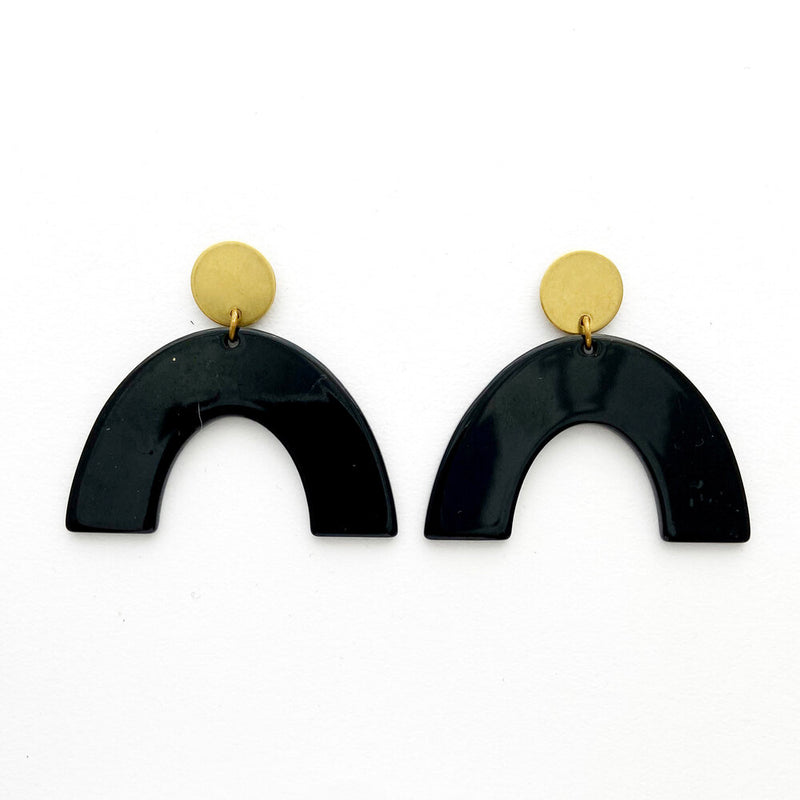 Brass & Resin Arch Earrings