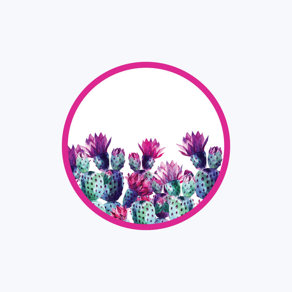 Pink Prickly Round Vinyl Sticker