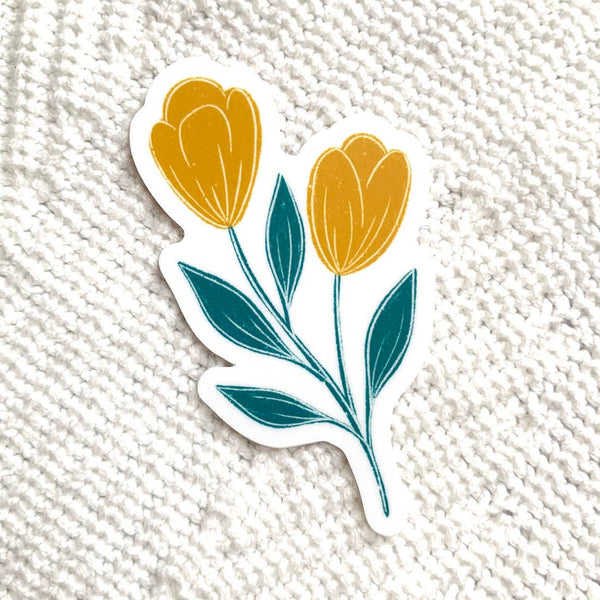 Yellow and Blue Tulips Vinyl Sticker