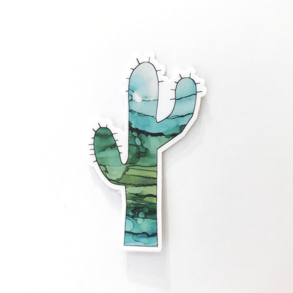 Green Ink Saguaro Vinyl Sticker