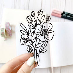 Clear Line Bouquet Vinyl Sticker