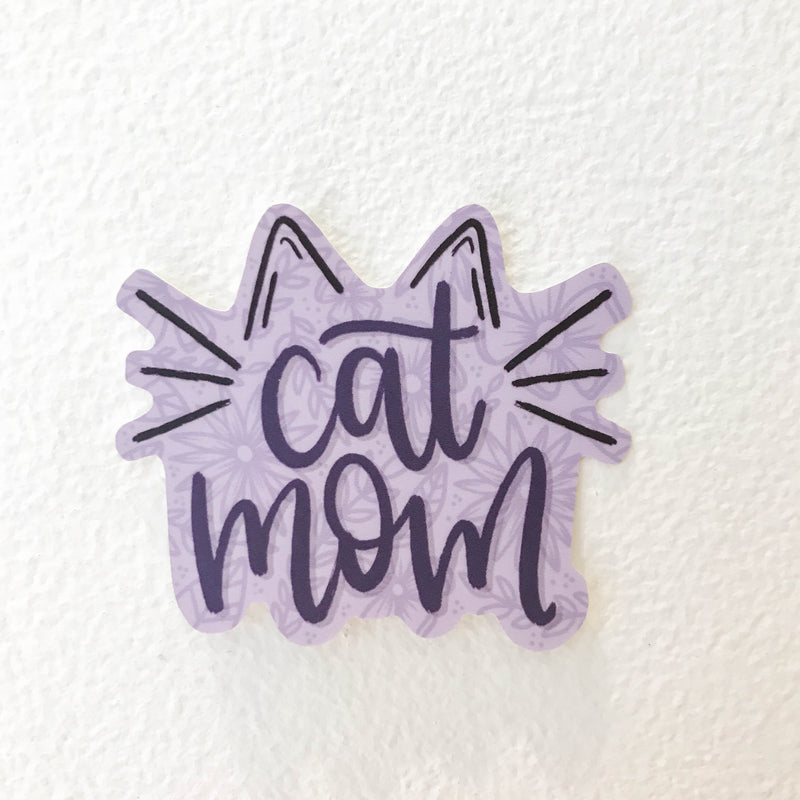 Purple Cat Mom Vinyl Sticker
