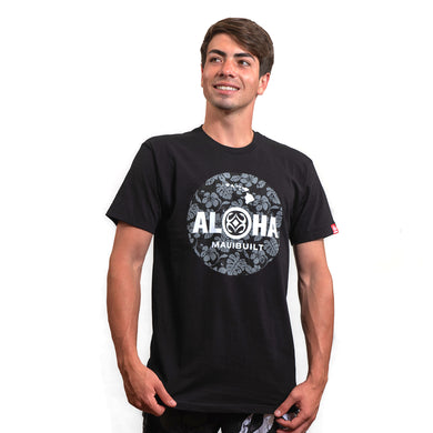 Maui Built Floral Aloha Circle Logo Modern Fit T-shirt