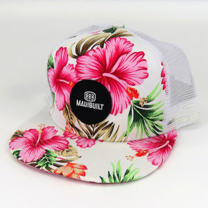 Maui Built Floral Cap - Floral / Pink and White