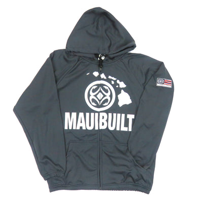 Maui Built Logo Zip Hoodie Jacket - Charcoal