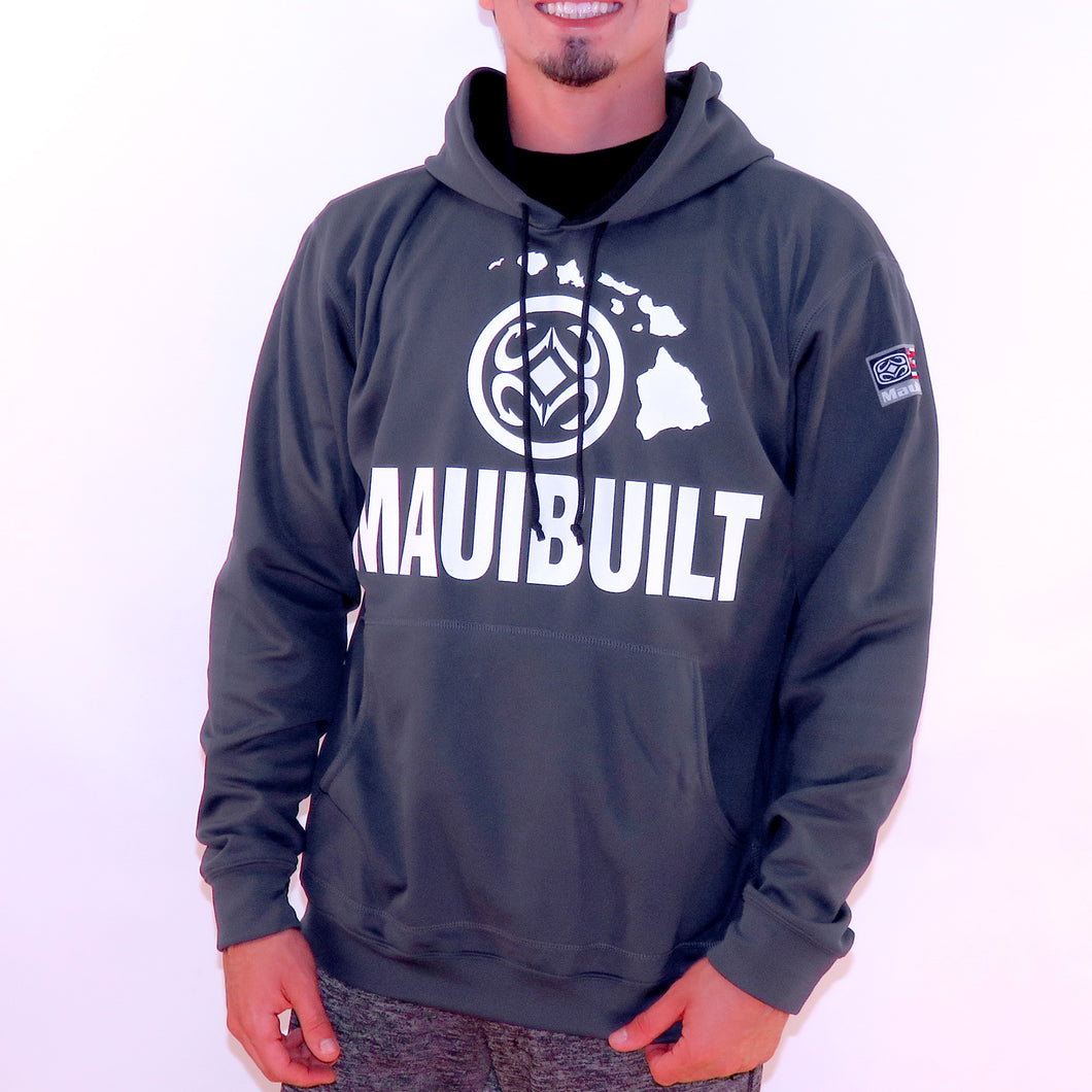 Maui Built Logo Pull Over Hoody Jacket - Charcoal
