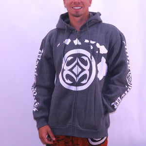 Maui Built Logo Zippered Fleece Hoody - Grey