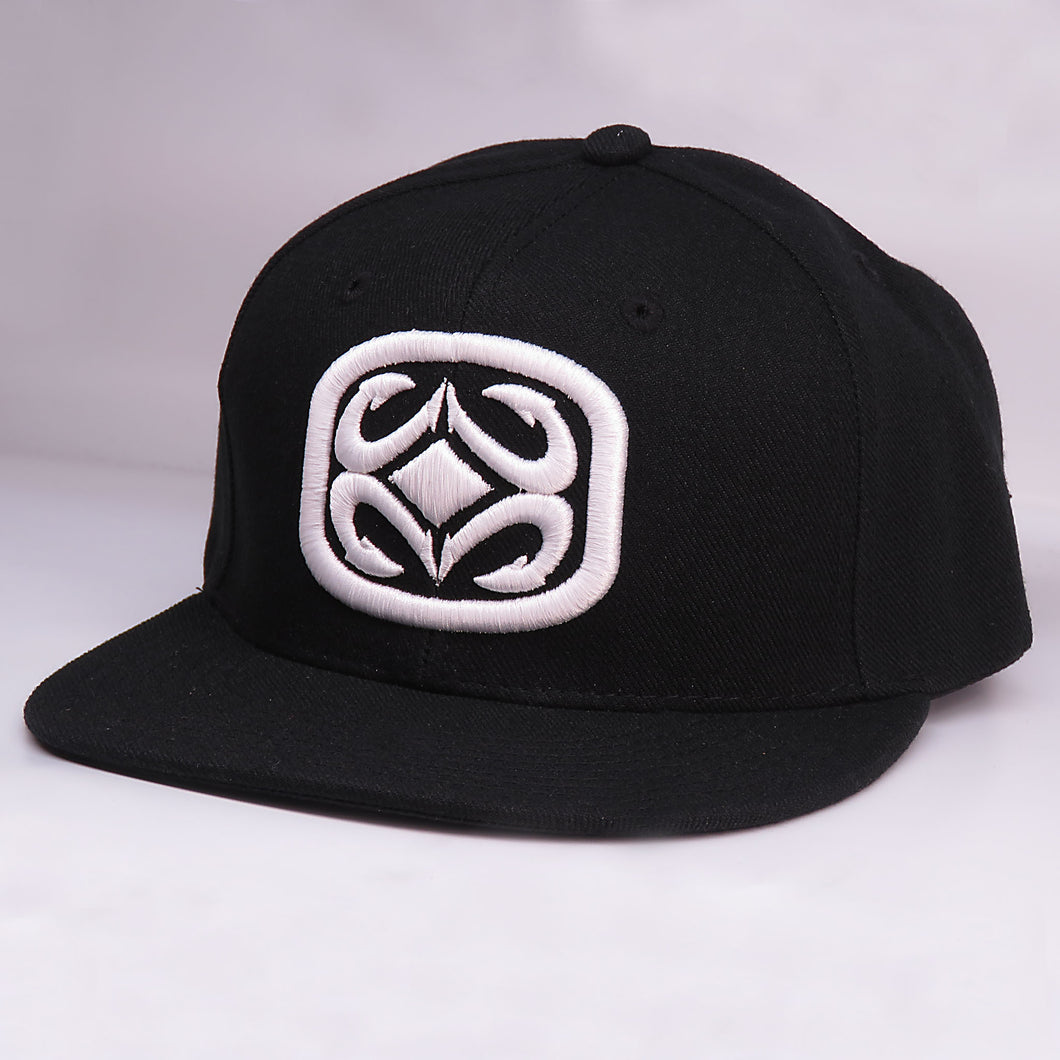 Maui Built Raised Embroidery Black Snapback Cap