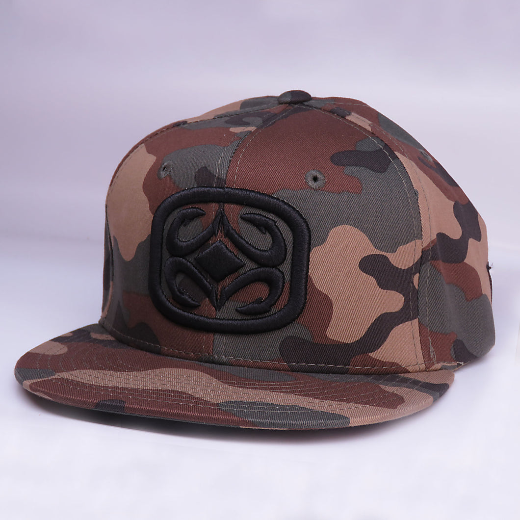 Maui Built Raised Embroidery Camo Snapback Cap