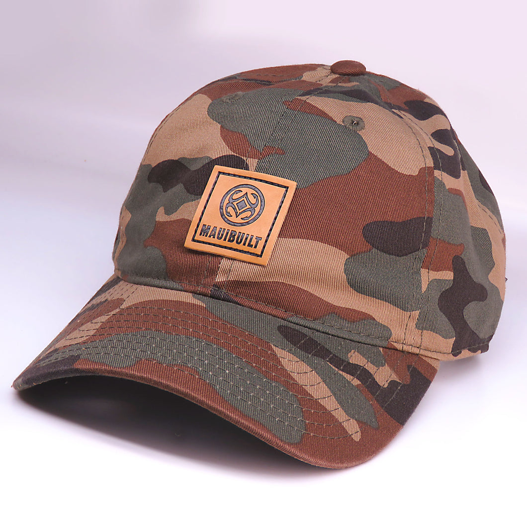 Maui Built Square Patch Green Camo Buckle Back Cap