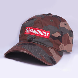Maui Built Red Bar Camo Buckle Back Cap