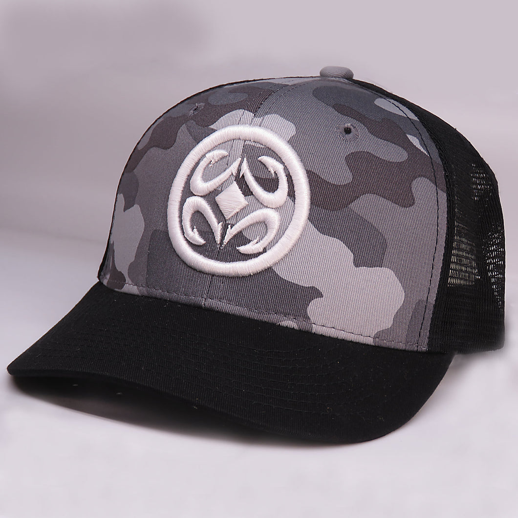 Maui Built Circle Logo Embroidery Grey Camo Meshback Cap