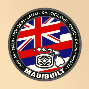 Maui Built Hawaii State Flag Circle Logo Sticker