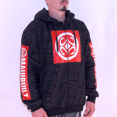Maui Built Red Bar Logo Zippered Fleece Hoody